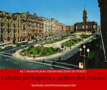 Calçada portuguesa e Jardins dos Aliados
