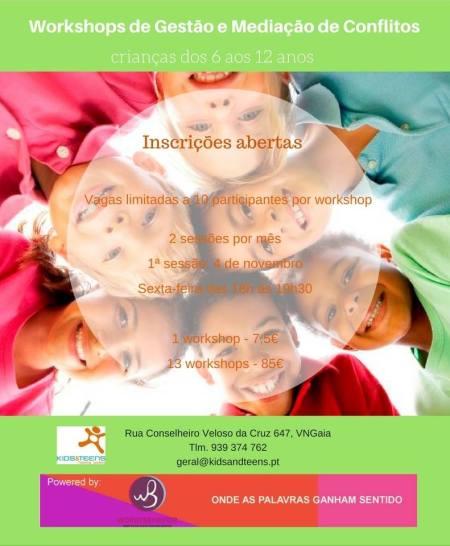 Cartaz dos Workshops de Gestão e Mediação de Conflitos